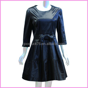midi-sleeved graceful glossy black dress