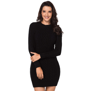 2019 Wholesale Black Slouchy Cable tight office Sweater Dress