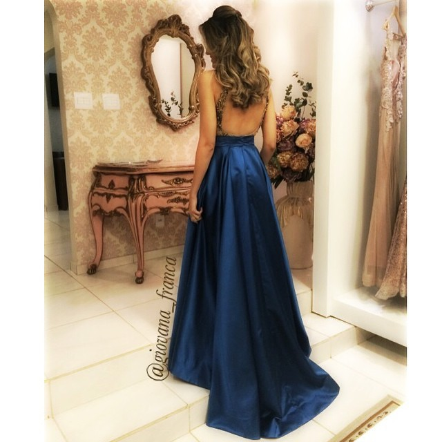 Abs-019 Royal Blue Evening Dresses Sexy Keyhole Back A-line Luxury ...