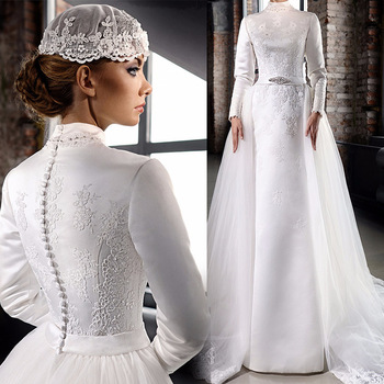 Various Style Custom Made Muslim Arab Long Sleeves Lace Bridal Gowns Ic Wedding Dress