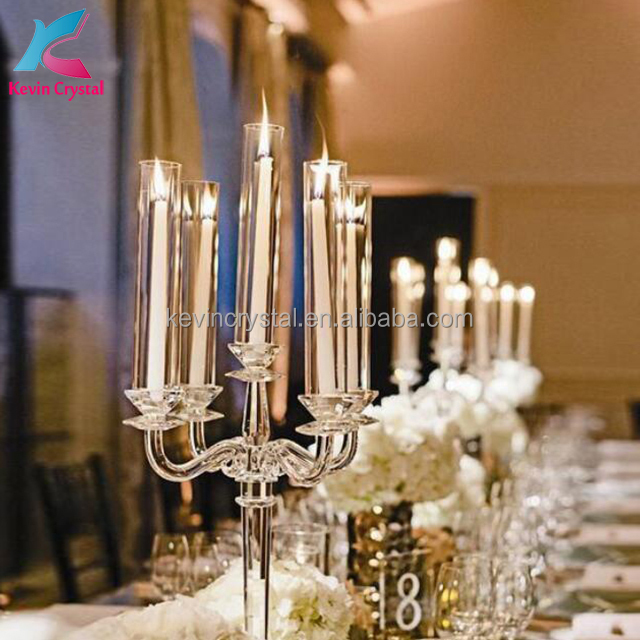 table decorations crystal candelabra wholesale with cylinder lampshade