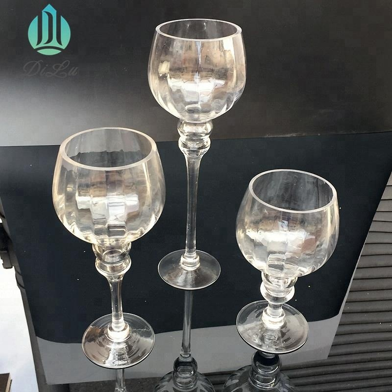 WHOLESALE HAND BLOWN CLEAR TALL GLASS TEALIGHT LONG STEM 3PCS/SET CANDLE HOLDER For BLING HOME DECOR