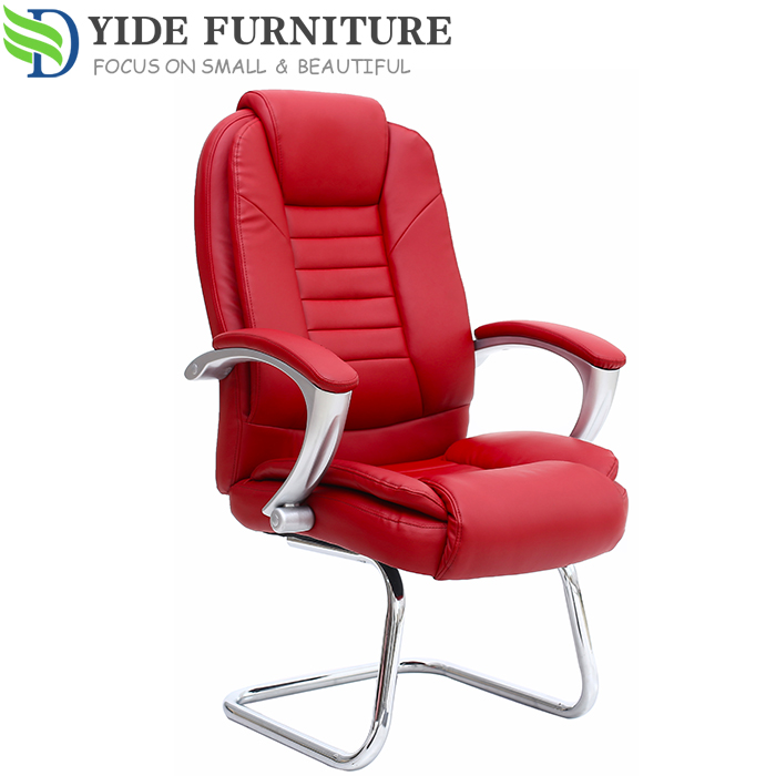 Genuine leather adjustable chair no wheels meeting chair for meeting