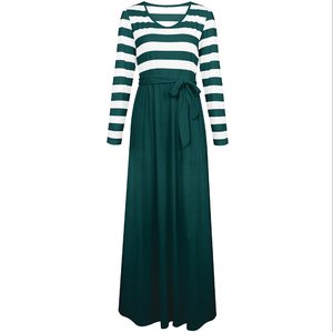 New autumn/winter 2018 women's dress amazon hot style Europe and America hot selling round neck stripe long dress