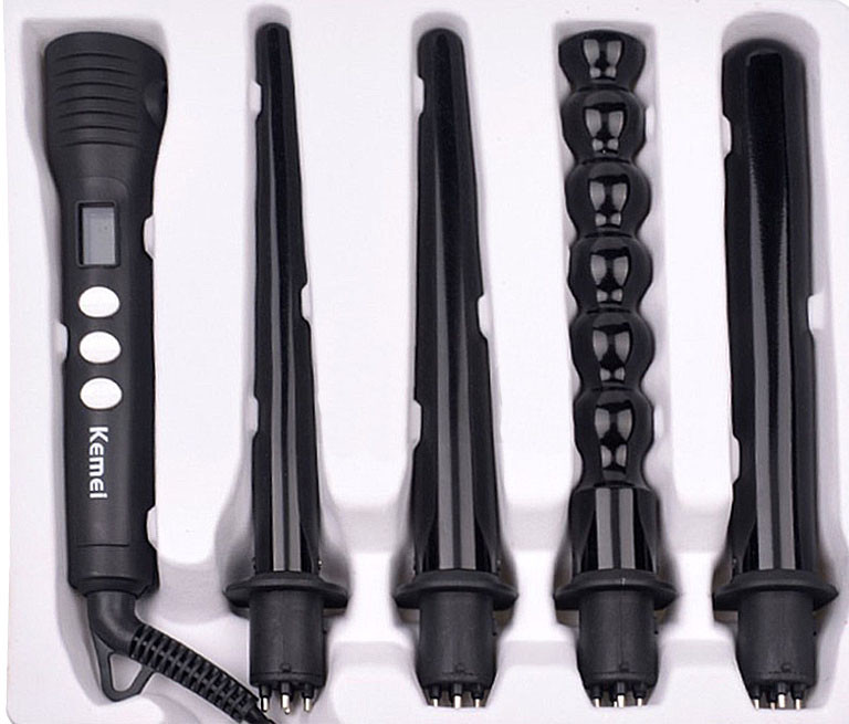 Kemei Hair Curler 4 In 1 Curling Iron Removable Curler Roller Conical &  Gourd Shaped Curling Wand Electric Hair Styler Curls Titanium Hair