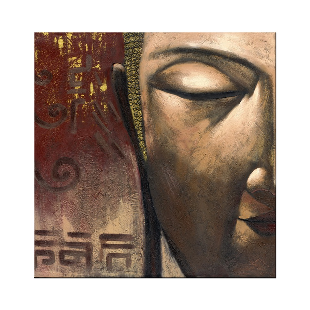 Handmade Canvas Art Buddha Oil Painting For Home Decoration