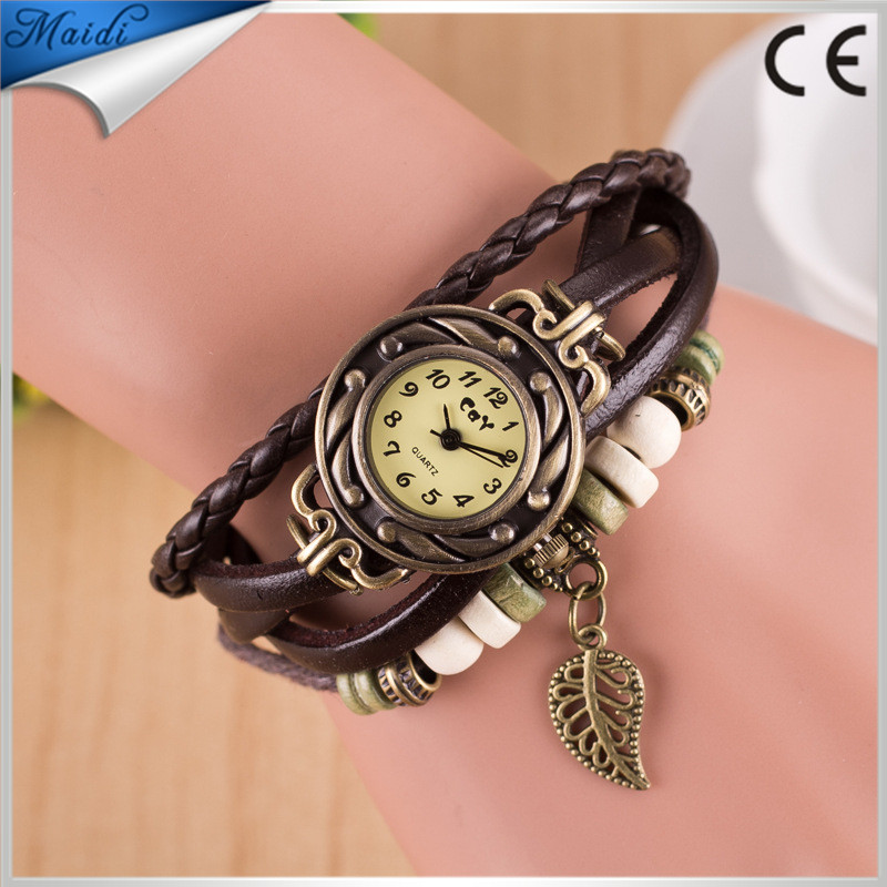 11Color fashion watch three bracelet watches Leaf Charm braided leather Strap retro women watches wristwatch VW027