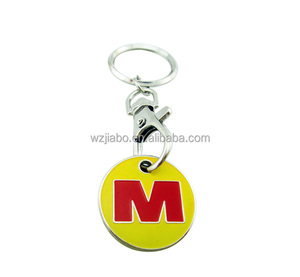 custom metal plated letter trolley coin token for wholesale