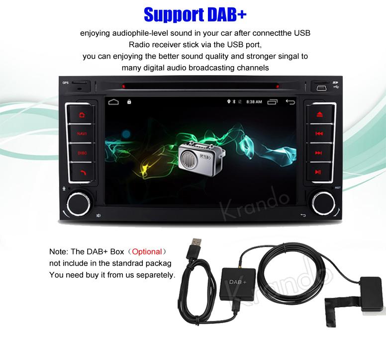 "Krando Android 7.1 7"" car navigation system radio dvd gps for volkswagen touareg 2 DIN multimedia player wifi 4G KD-VW210"
