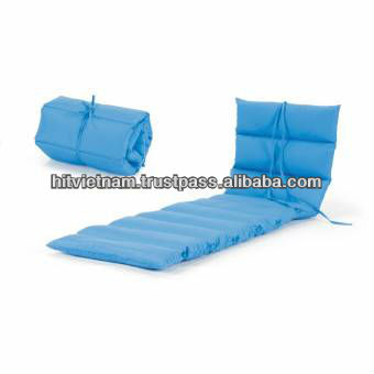 Cushion Pad With 9 Schings And 5 Ties Roll Up Portable Outdoor Beach Chair Chaise Lounge Cushions