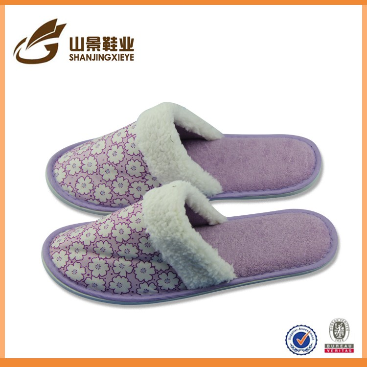 Yangzhou shoes cotton washable terry velour hotel slippers