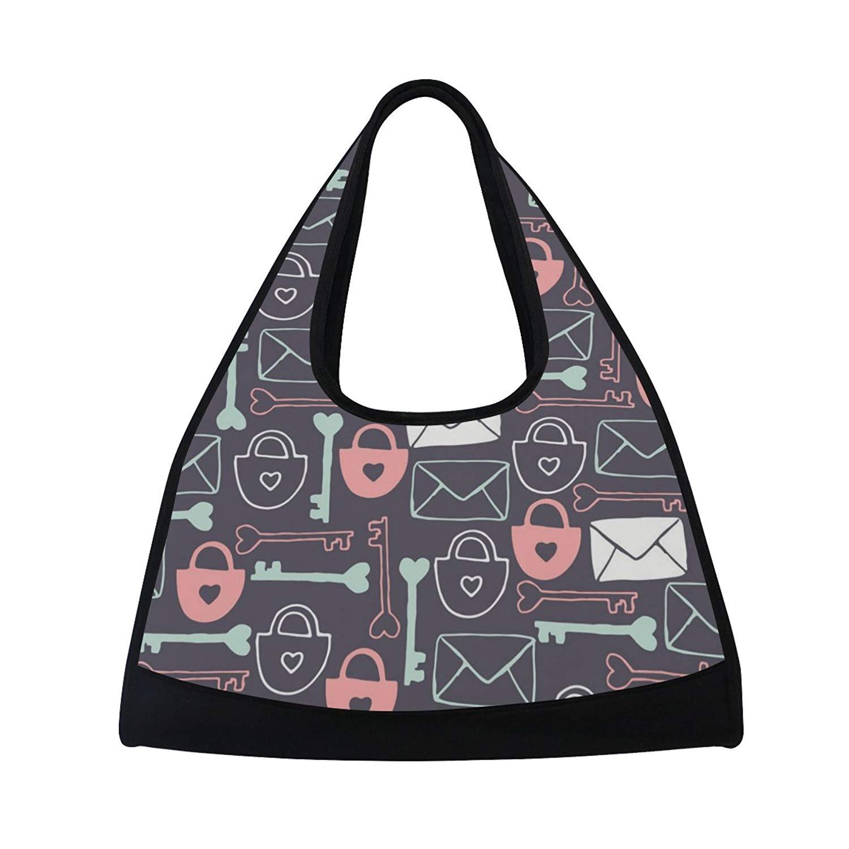 Sport Gym Bag Key Lock Pattern Canvas Travel Duffel Bag
