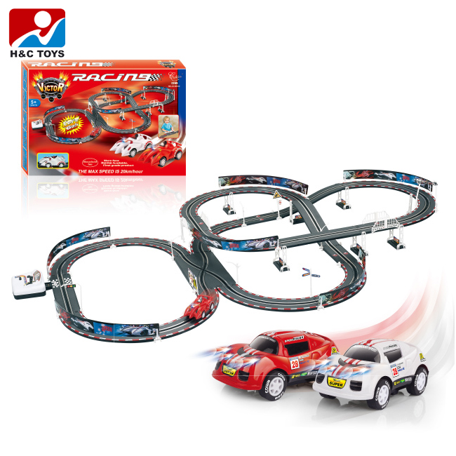 High Quality Diy Race Track Electric Slot Car Racing Set With Double Loop Hc395615