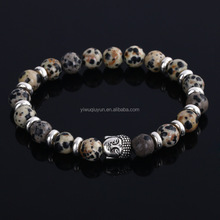Hot Natural 8mm Stone Beads Silver Metal Buddha Bracelet Mens Beaded Bracelet
