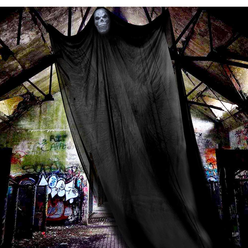 iHolamey 16.5ft Halloween Decorations Hanging Ghost Prop Hanging Skeleton Flying Ghost,Scary Death Hanging Ghost Props Outdoor Indoor Home Yard Balcony Deck(Large Size)