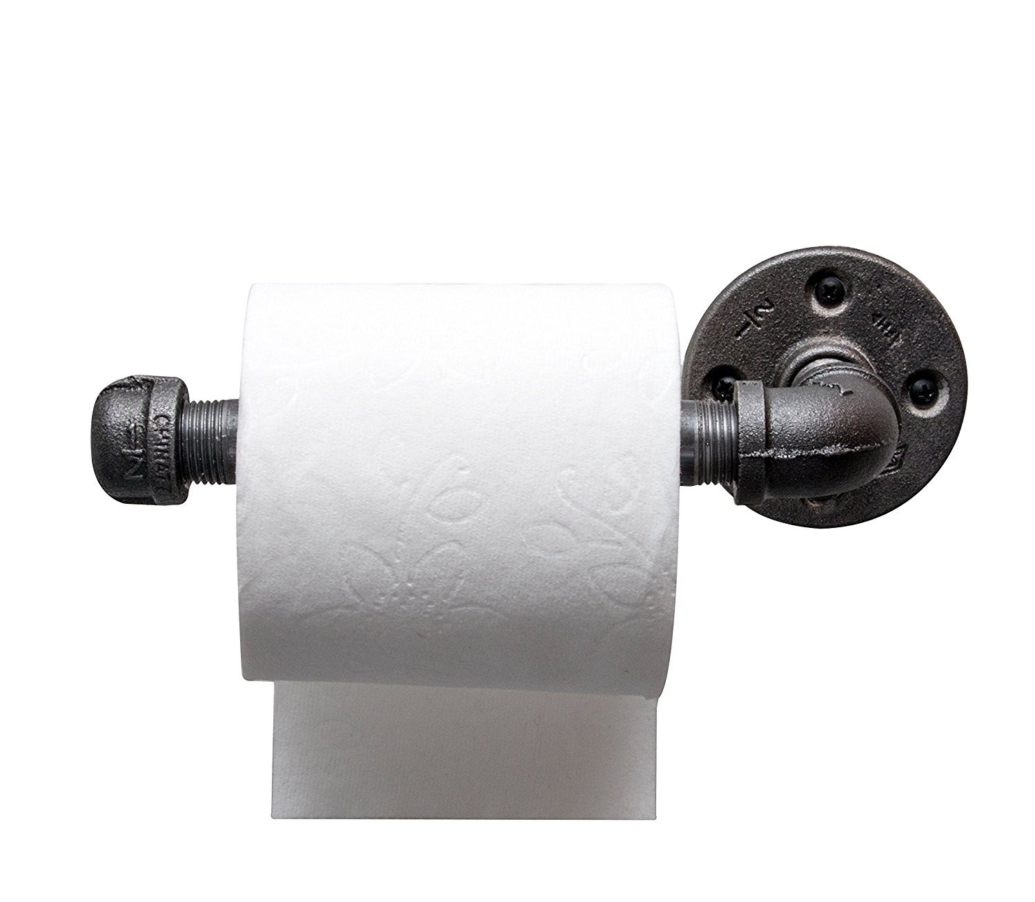 DIY CARTEL Industrial Pipe Toilet Paper Tissue Holder - Black Iron - Commercial/Heavy Duty - Style : Modern, Minimalist, Rustic, Steampunk, Farmhouse Industrial Furniture (1 roll Holder)