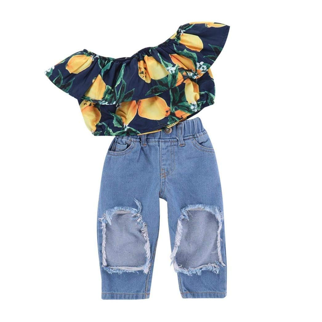 067442c0fc088 Get Quotations · Iuhan® Baby Girls Ruffle Off Shoulder Tops +Big Hole Jeans  Cool Girl Clothes 2pcs