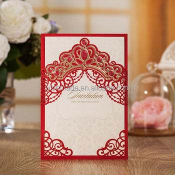 wishmade delicate red chinese laser cut engagement invitation card