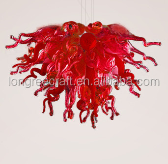 Red Chandelier <strong>Modern</strong> Hanging Led Glass Ball Pendant Light