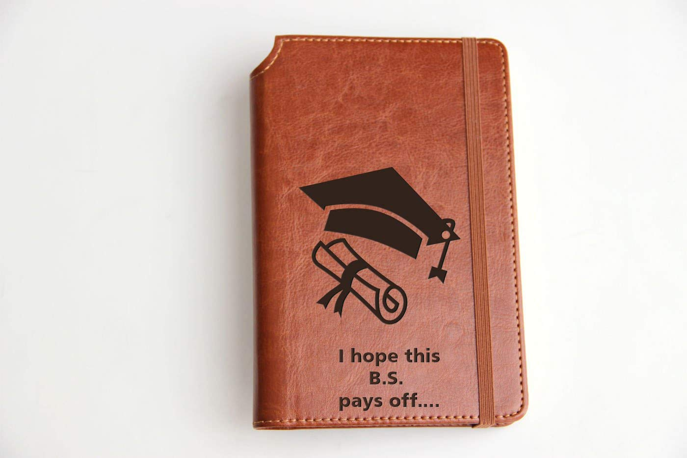 Customizable laser engraved Funny Graduation Quote Journal Customizable engraved Journal leather bound, strip with the same color to keep it closed
