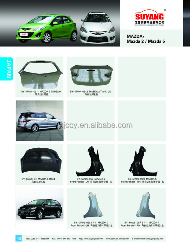 Suyang Good Price Auto Body Parts Mazda 3 2013 Rear Side Panel