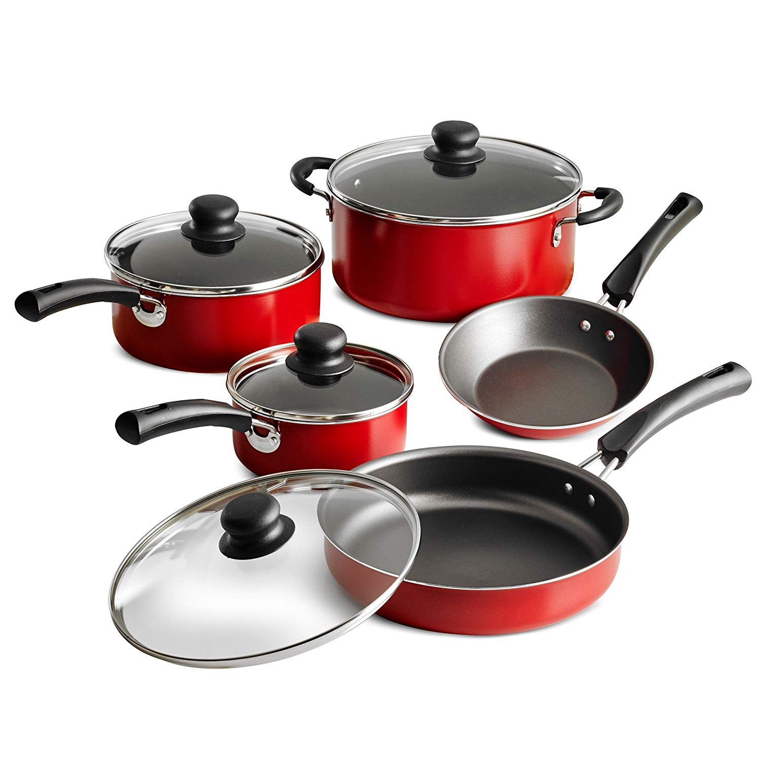 Tramontina 9-Piece Simple Cooking Nonstick Cookware Set Red,Black