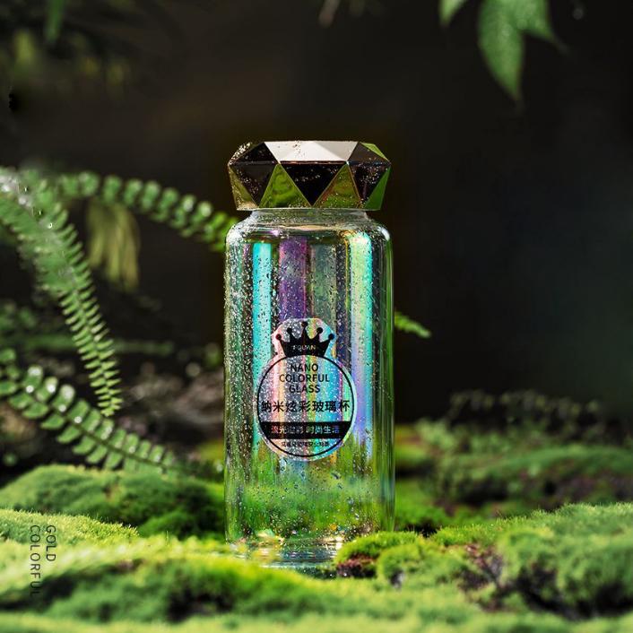 BPA الحرة شعبية نانو مرآة ملونة الماس انبهار زجاج زجاجة ماء