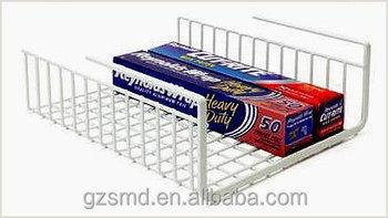 Under shelf wire rack basket kitchen organizer white for Under shelf basket wrap rack