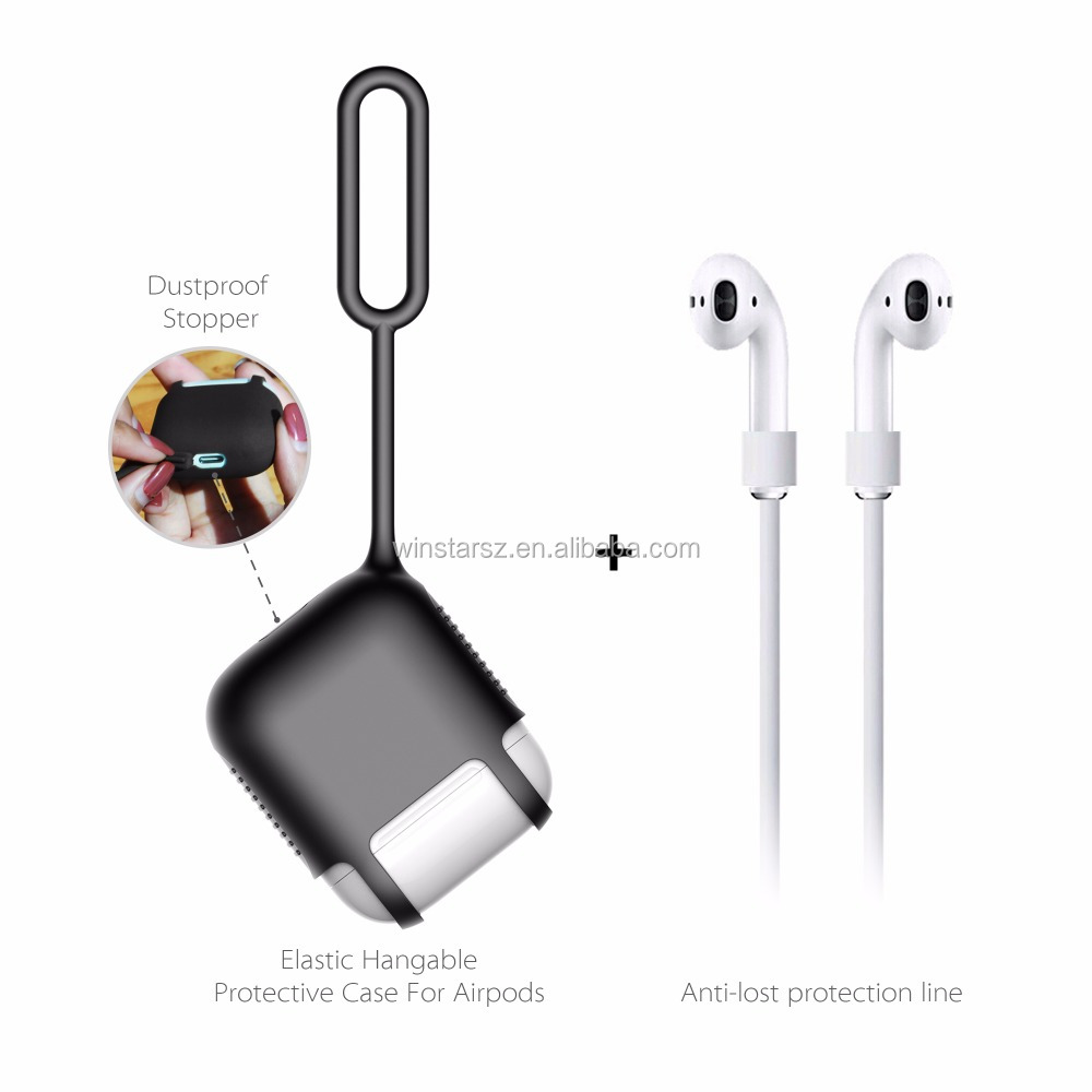 New Product Self Strap Ring Rubber Silicone Earphone Holder,Easy Carrying Earphone Case For Airpods