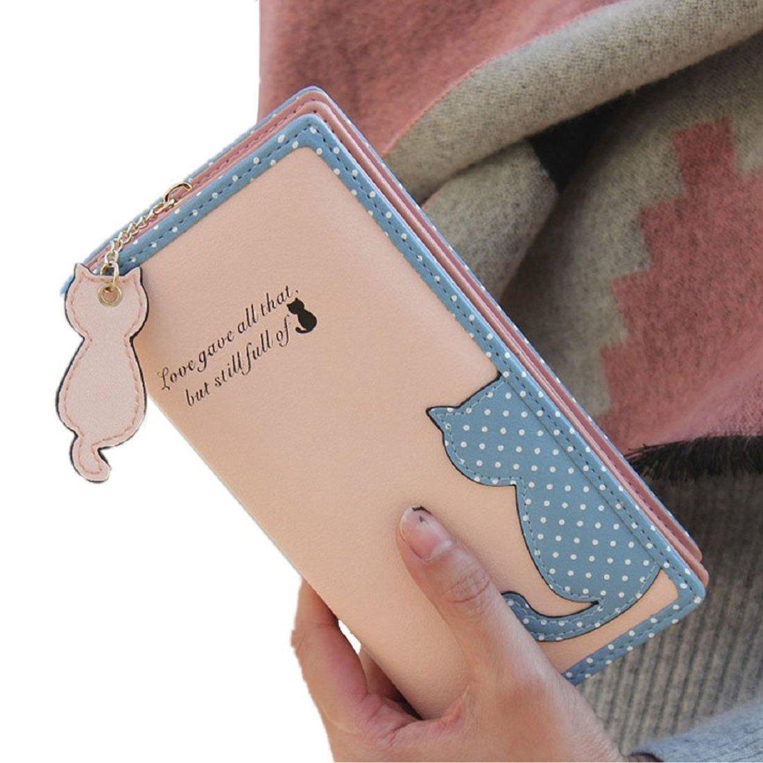 Wallet - SODIAL(R)Fashion Women Cat Purse Long Wallet Bags PU Handbags Card Holder (Black)