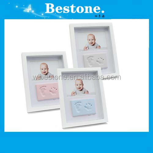 Hot Babyprints deluxe white wall frame quality wooden impression print kit
