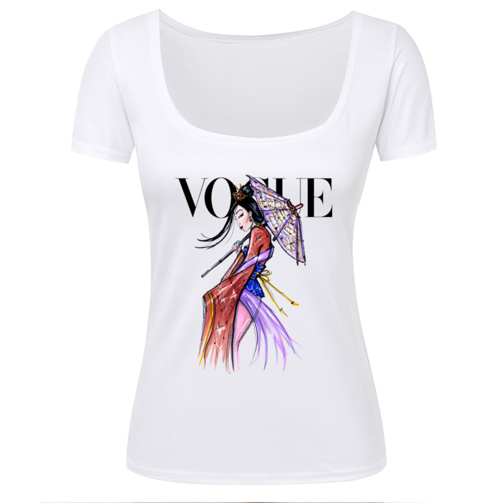vogue t shirts women short sleeve sexy u neck 3d t shirt womens euro size graphic poetry beauty. Black Bedroom Furniture Sets. Home Design Ideas