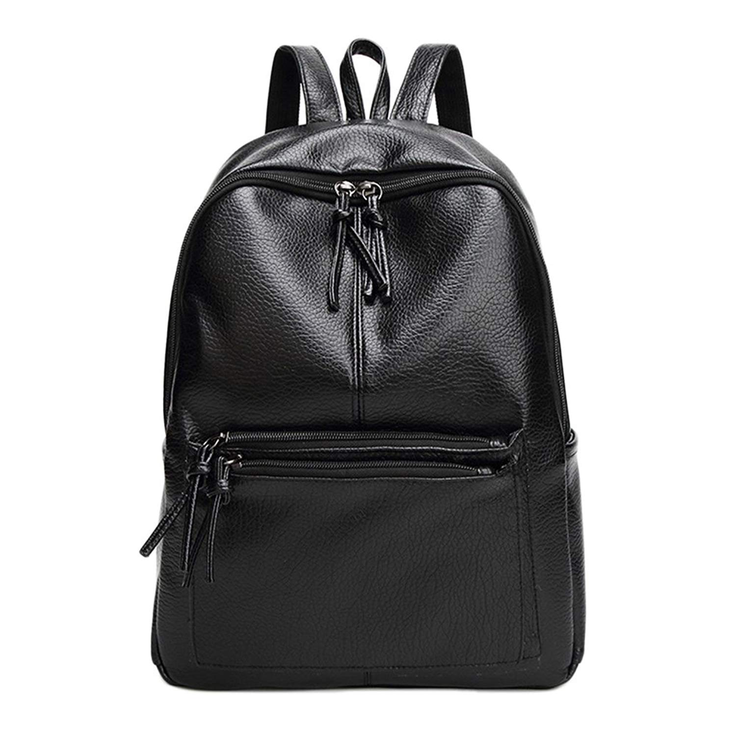 cfef102bbcd8 Get Quotations · ThinkMax Fashionable Elegant Lady Embossed Pattern Cowhide Backpack  Bag Casual Simple Student Backpack Black