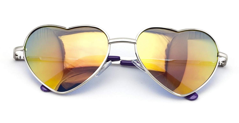 7ac254d01c Get Quotations · V.W.E. Female Metal Heart Shape Frame Mirror Lens  Sunglasses Cupid Lolita