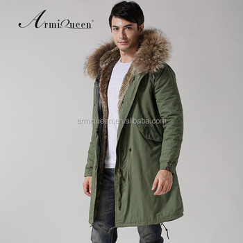 2017 Winter Mens Military Style Green Faux Fur Lining Jacketnd Long Style Racfur Hooded