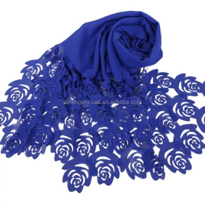 2018 Summer New Rose Pattern Plain Shawls Nice Scarves Arab Women Headscarf Hot Muslim Chiffon Hijab