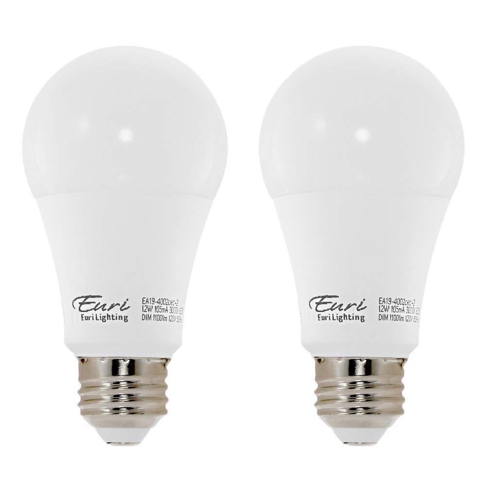 Euri Lighting EA19-4002cec-2 LED A19 Bulb, E-Lite Line, Soft White 3000K, Dim, 12W (75W Equivalent) 1100 lm, 296 Degree Beam Angle, 90+ CRI, Med. Base (E26) UL, E-Star Listed, CEC (Pack of 2)