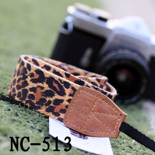 Nine States Soft Fabric Cloth Leopard Print Universal Adjustable Camera Camcorder Shoulder Neck Strap Belt with Harness Adapter Fits for DSLR Camera Nikon Canon Panasonic Sony Samsung Olymplus Fujifilm Brown (NC-513 Seires)