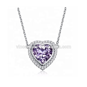 Heart style 18k italian gold jewelry pendant necklace in purple wholesale uk