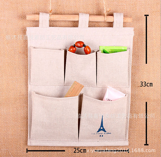 Wholesale fashion natural jute wall hanging storage 5 pockets