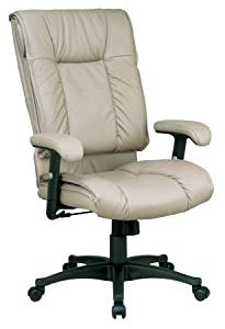 Avenue 6 Office Star EX9382-1 Deluxe High Back Executive Deluxe Coated Tan Leather Chair with Pillow Top Seat and Back