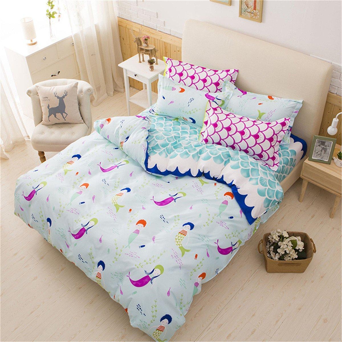 365dd8ef18e276 Get Quotations · Sookie 3 Pieces Blue Duvet Small Mermaid Bedding Set Full/ Queen Kids Girls,(