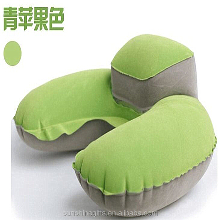 Inflatable PVC flocked travel pillow