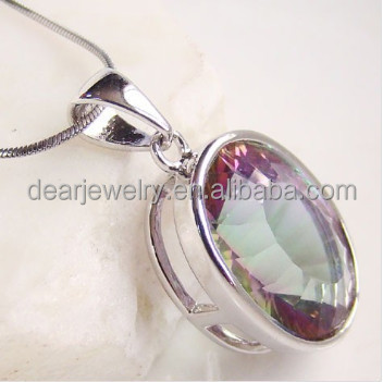 2015 Fashion Wholesale Costume Cheap Silver Mystic Topaz Pendants For Women , Mystic Topaz Jewelry Accepted by paypal