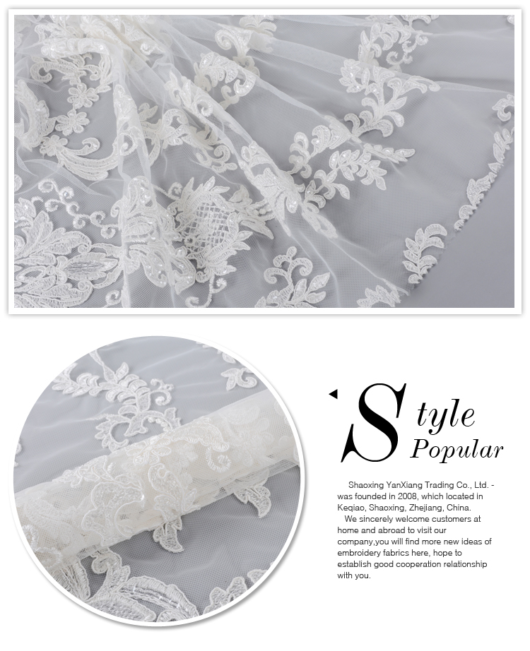 Newest African white bridal gown lace fabric for wedding dress