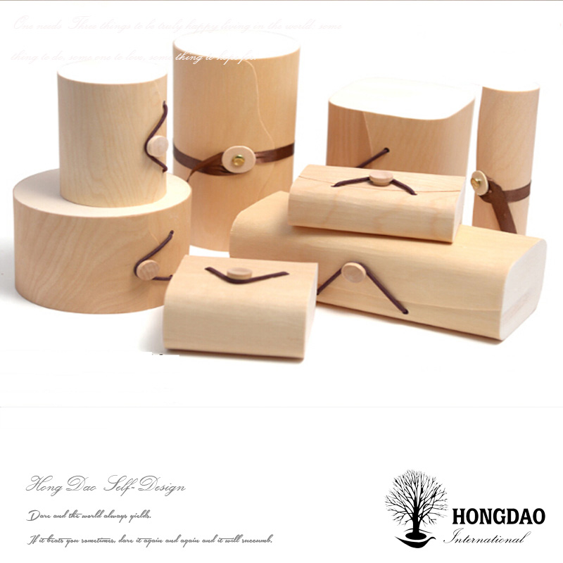 HONGDAO Tree Bark Wood Veneer Food Box Round ,free wooden gift box sample,Order! Balsa wooden very thin macarons box