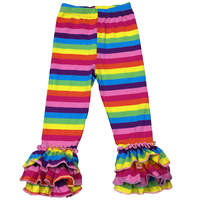 China manufacturer children clothing rainbow striped ruffle capris pants sew sassy soft trousers for girls