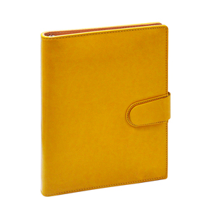Office organizer stationary with yellow leather and 6 rings binder for loose leaves sheets/pages