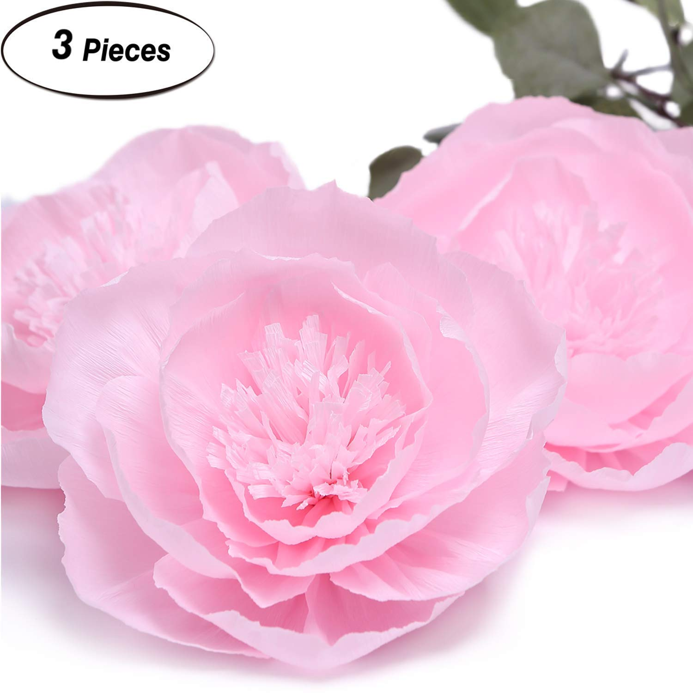 Giant Paper Flower Decorations For Wall Light Pink Paper Flower For Wall Rose Pink Crepe Paper Flower For Wedding Bouquets Centerpieces Arrangements