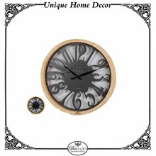 Paris Style Round Pine Wood Frame Wall Clock